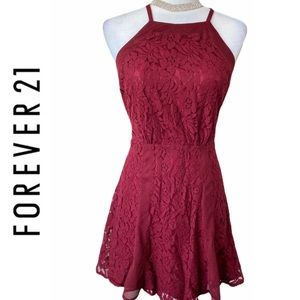 Forever 21 Contemporary Burgundy Lace Flare Dress